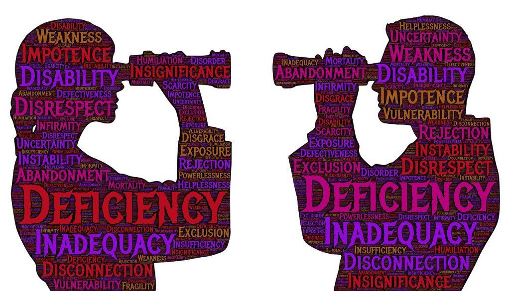 "Silhouettes of a seeming male and female facing each other holding binoculars to their eyes, with a word cloud of ""blame"" synonyms written over their silhouettes"