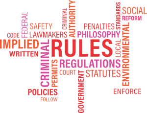 Word cloud related to standards, with major words including rules, regulations, criminal, safety, lawmakers