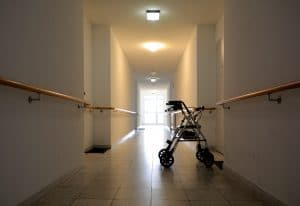 long corridor with a walker